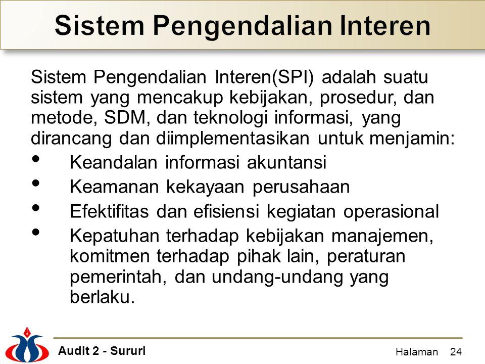 Audit 2 - Sururi Sistem Pengendalian Interen(SPI) adalah suatu sistem yang mencakup kebijakan, prosedur, dan metode, SDM, dan teknologi informasi, yan