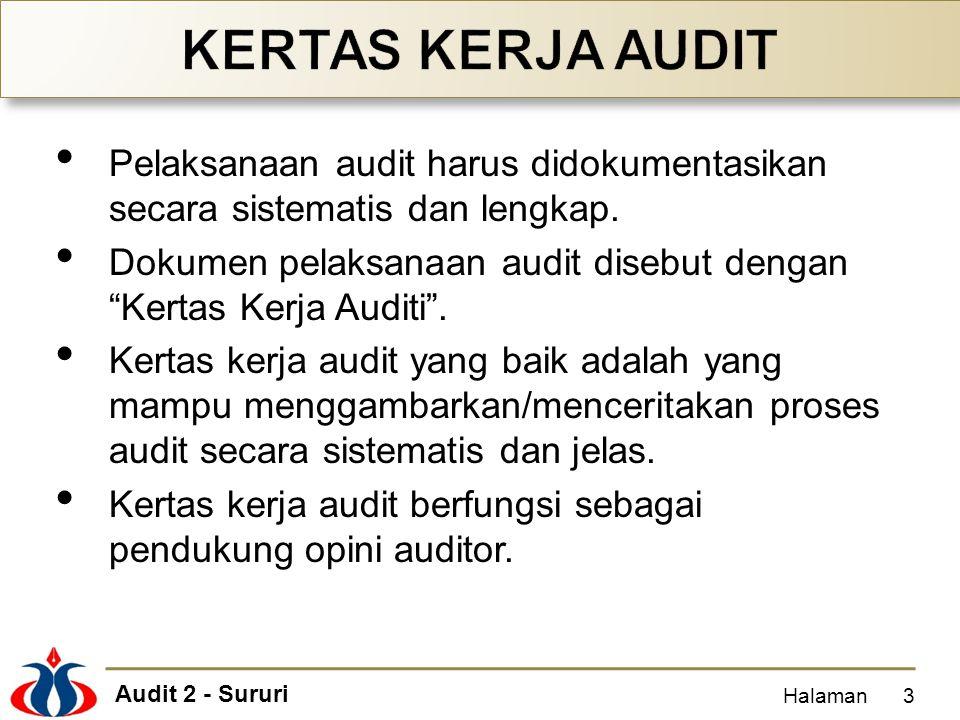 "Audit 2 - Sururi Pelaksanaan audit harus didokumentasikan secara sistematis dan lengkap. Dokumen pelaksanaan audit disebut dengan ""Kertas Kerja Auditi"