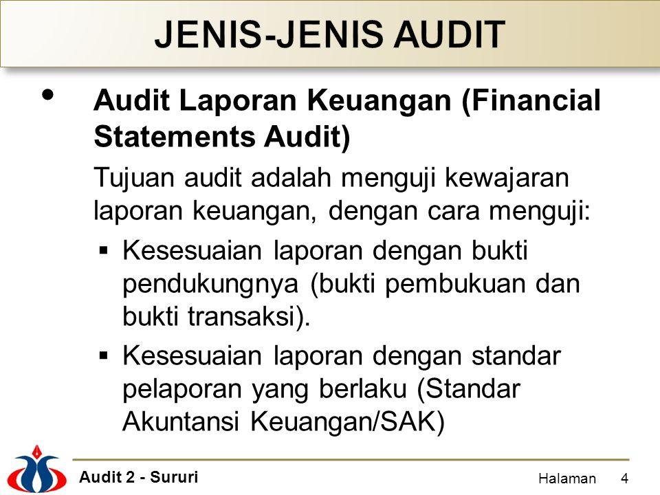 Audit 2 - Sururi Audit Laporan Keuangan (Financial Statements Audit) Tujuan audit adalah menguji kewajaran laporan keuangan, dengan cara menguji:  Ke