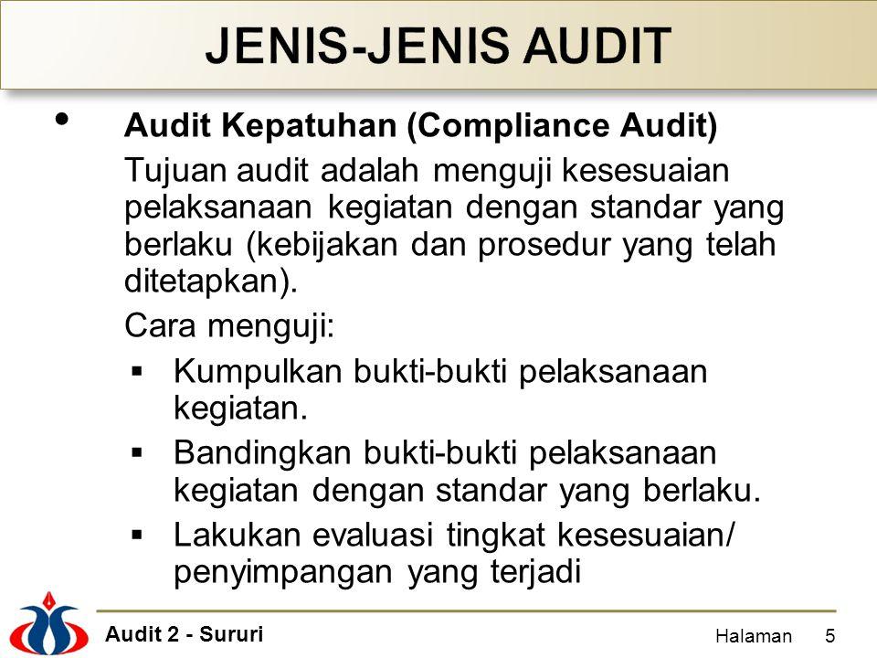 Audit 2 - Sururi Audit Kepatuhan (Compliance Audit) Tujuan audit adalah menguji kesesuaian pelaksanaan kegiatan dengan standar yang berlaku (kebijakan