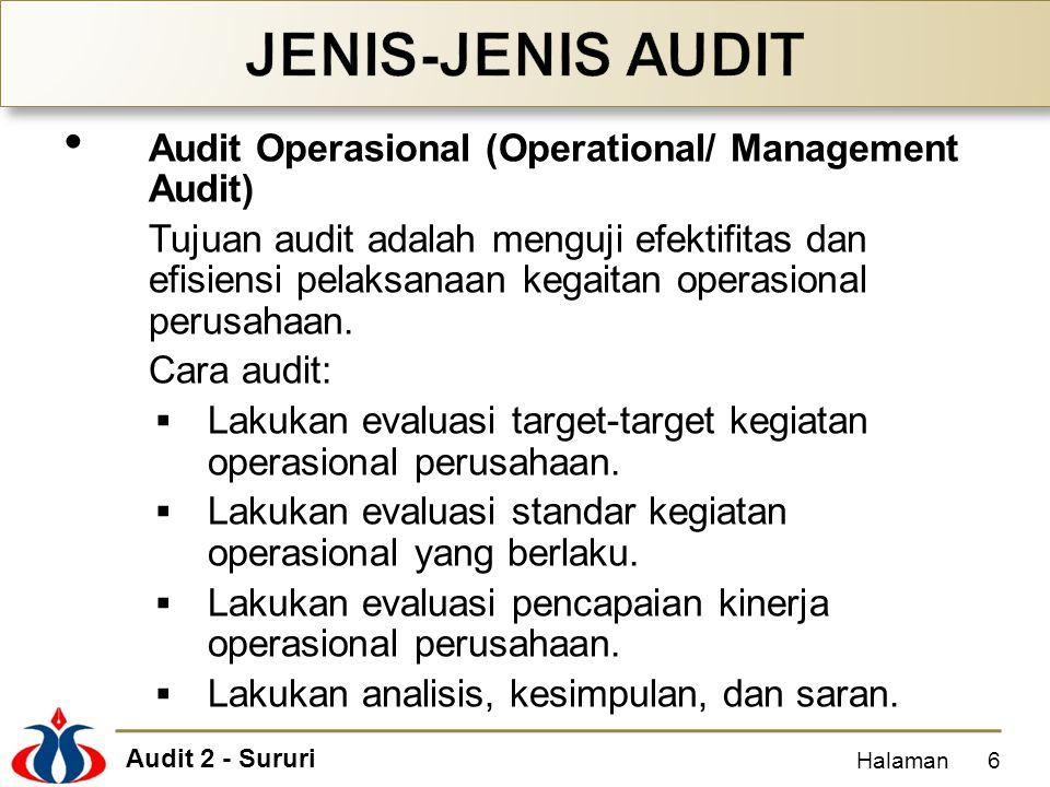 Audit 2 - Sururi Audit Operasional (Operational/ Management Audit) Tujuan audit adalah menguji efektifitas dan efisiensi pelaksanaan kegaitan operasio