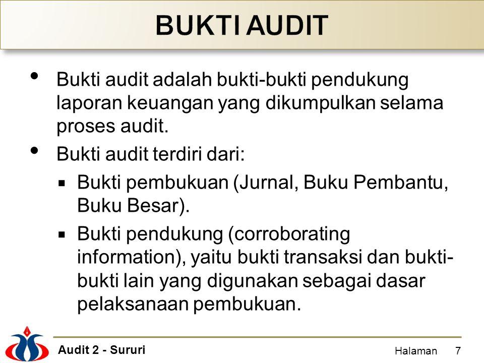 Audit 2 - Sururi Bukti audit adalah bukti-bukti pendukung laporan keuangan yang dikumpulkan selama proses audit. Bukti audit terdiri dari:  Bukti pem