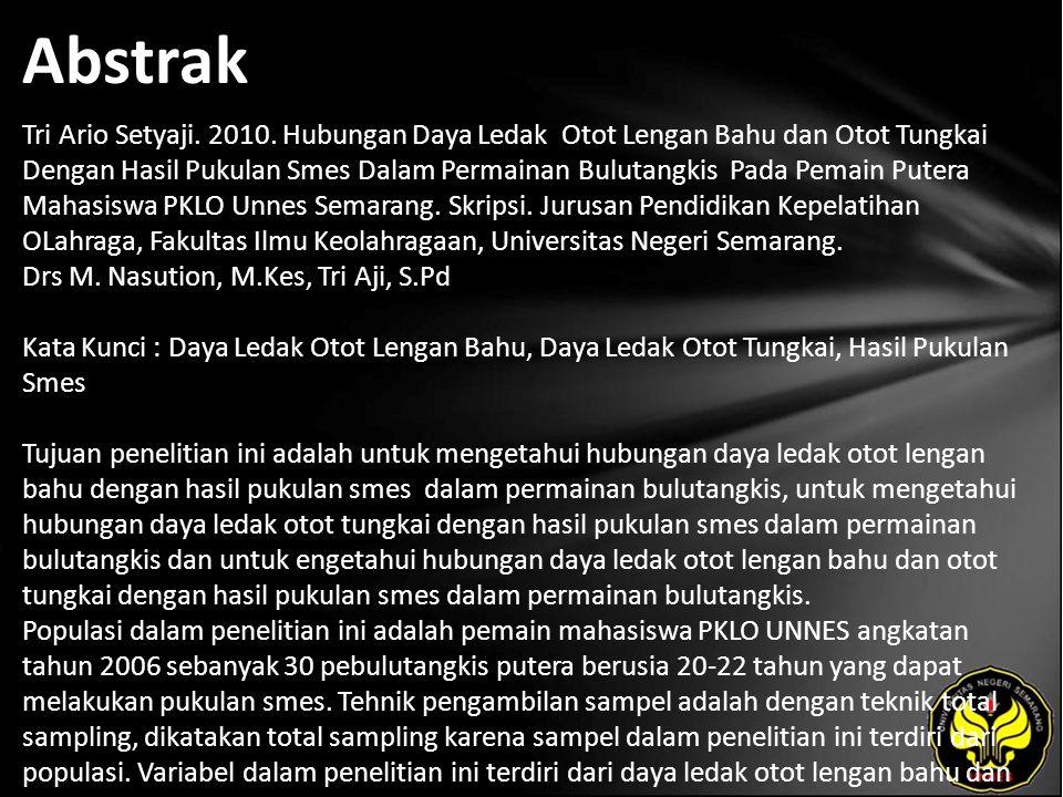 Abstrak Tri Ario Setyaji. 2010. Hubungan Daya Ledak Otot Lengan Bahu dan Otot Tungkai Dengan Hasil Pukulan Smes Dalam Permainan Bulutangkis Pada Pemai