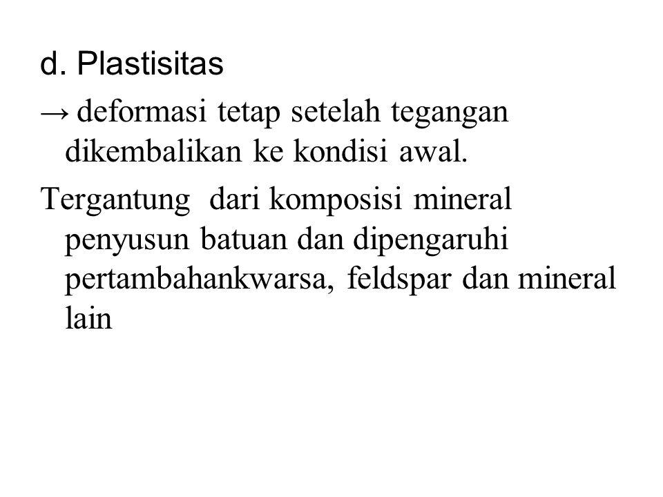 d. Plastisitas → deformasi tetap setelah tegangan dikembalikan ke kondisi awal. Tergantung dari komposisi mineral penyusun batuan dan dipengaruhi pert