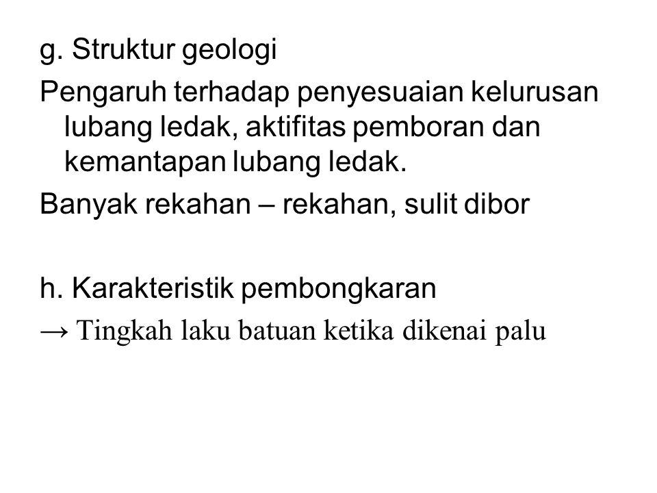 g. Struktur geologi Pengaruh terhadap penyesuaian kelurusan lubang ledak, aktifitas pemboran dan kemantapan lubang ledak. Banyak rekahan – rekahan, su