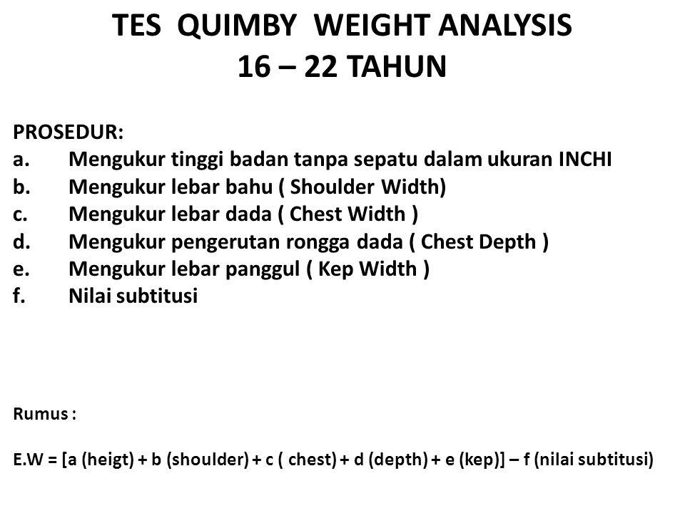 TES QUIMBY WEIGHT ANALYSIS 16 – 22 TAHUN PROSEDUR: a.Mengukur tinggi badan tanpa sepatu dalam ukuran INCHI b.Mengukur lebar bahu ( Shoulder Width) c.Mengukur lebar dada ( Chest Width ) d.Mengukur pengerutan rongga dada ( Chest Depth ) e.Mengukur lebar panggul ( Kep Width ) f.Nilai subtitusi Rumus : E.W = [a (heigt) + b (shoulder) + c ( chest) + d (depth) + e (kep)] – f (nilai subtitusi)
