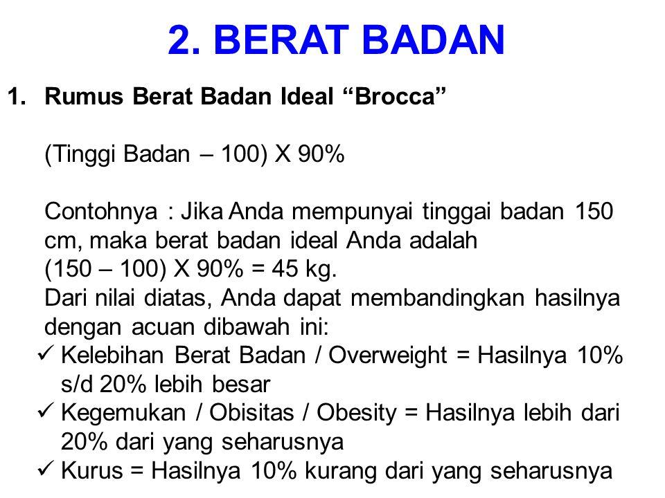 1.Rumus Berat Badan Ideal Brocca (Tinggi Badan – 100) X 90% Contohnya : Jika Anda mempunyai tinggai badan 150 cm, maka berat badan ideal Anda adalah (150 – 100) X 90% = 45 kg.