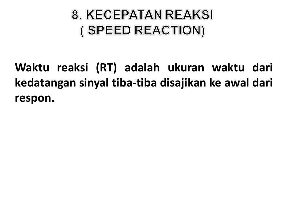 Waktu reaksi (RT) adalah ukuran waktu dari kedatangan sinyal tiba-tiba disajikan ke awal dari respon.