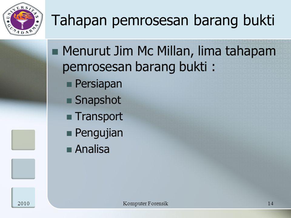 Tahapan pemrosesan barang bukti Menurut Jim Mc Millan, lima tahapam pemrosesan barang bukti : Persiapan Snapshot Transport Pengujian Analisa 201014Kom