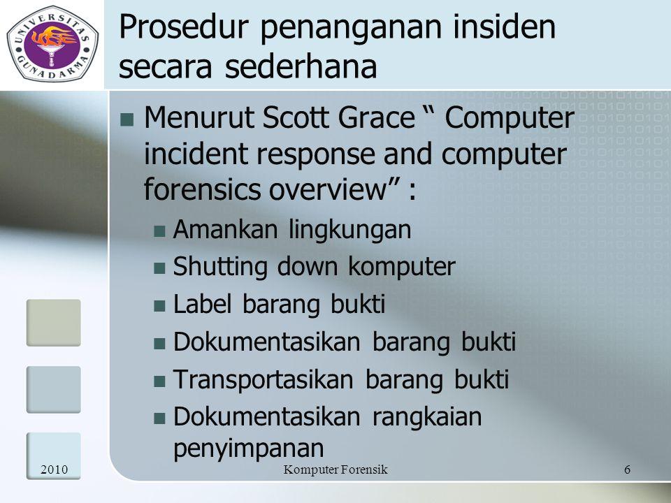 "Prosedur penanganan insiden secara sederhana Menurut Scott Grace "" Computer incident response and computer forensics overview"" : Amankan lingkungan Sh"