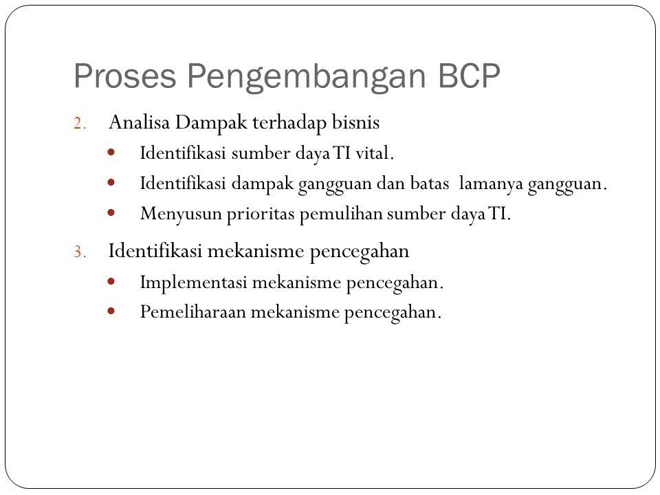 Proses Pengembangan BCP 12 2. Analisa Dampak terhadap bisnis Identifikasi sumber daya TI vital. Identifikasi dampak gangguan dan batas lamanya ganggua