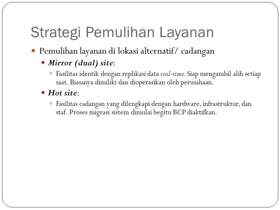 Strategi Pemulihan Layanan 25 Pemulihan layanan di lokasi alternatif/ cadangan Mirror (dual) site: Fasilitas identik dengan replikasi data real-time.
