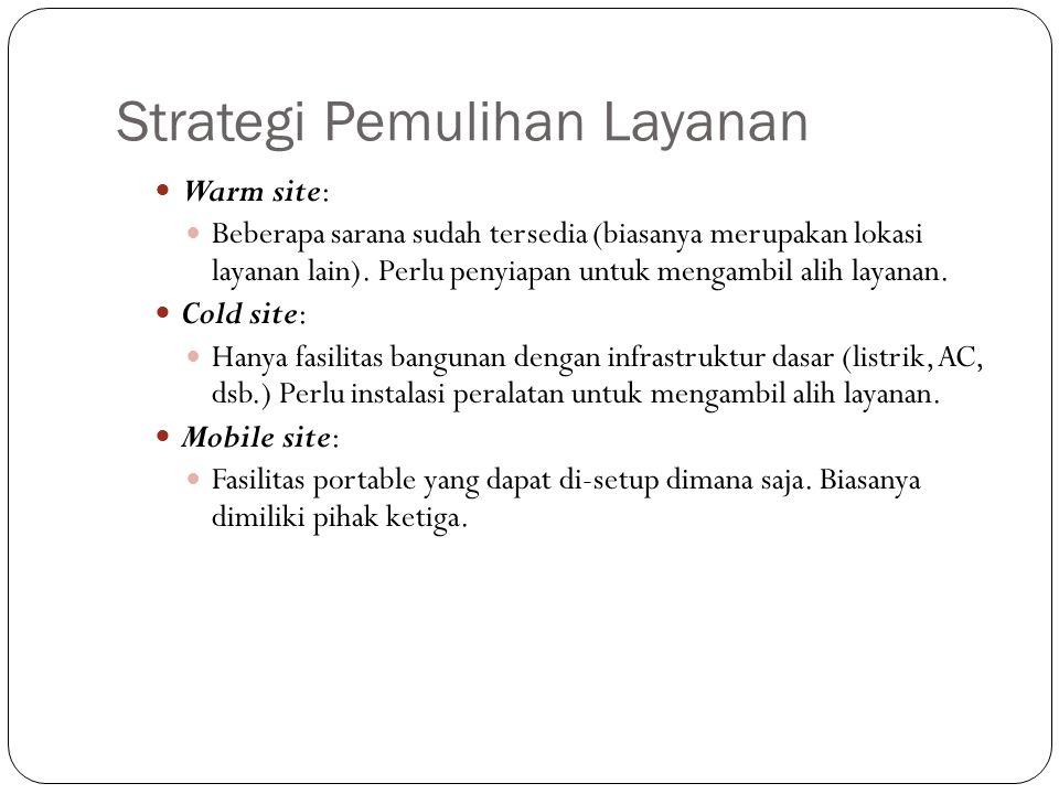 Strategi Pemulihan Layanan 26 Warm site: Beberapa sarana sudah tersedia (biasanya merupakan lokasi layanan lain). Perlu penyiapan untuk mengambil alih