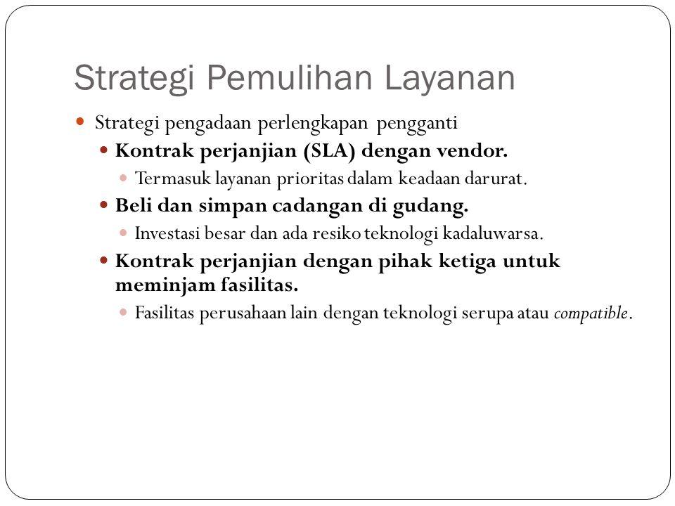 Strategi Pemulihan Layanan 28 Strategi pengadaan perlengkapan pengganti Kontrak perjanjian (SLA) dengan vendor. Termasuk layanan prioritas dalam keada