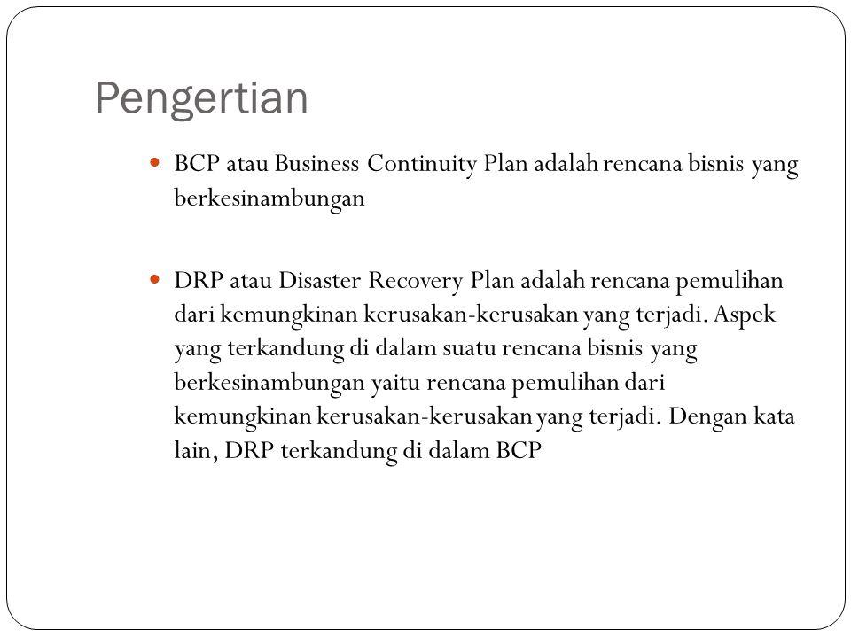 Pengertian BCP atau Business Continuity Plan adalah rencana bisnis yang berkesinambungan DRP atau Disaster Recovery Plan adalah rencana pemulihan dari