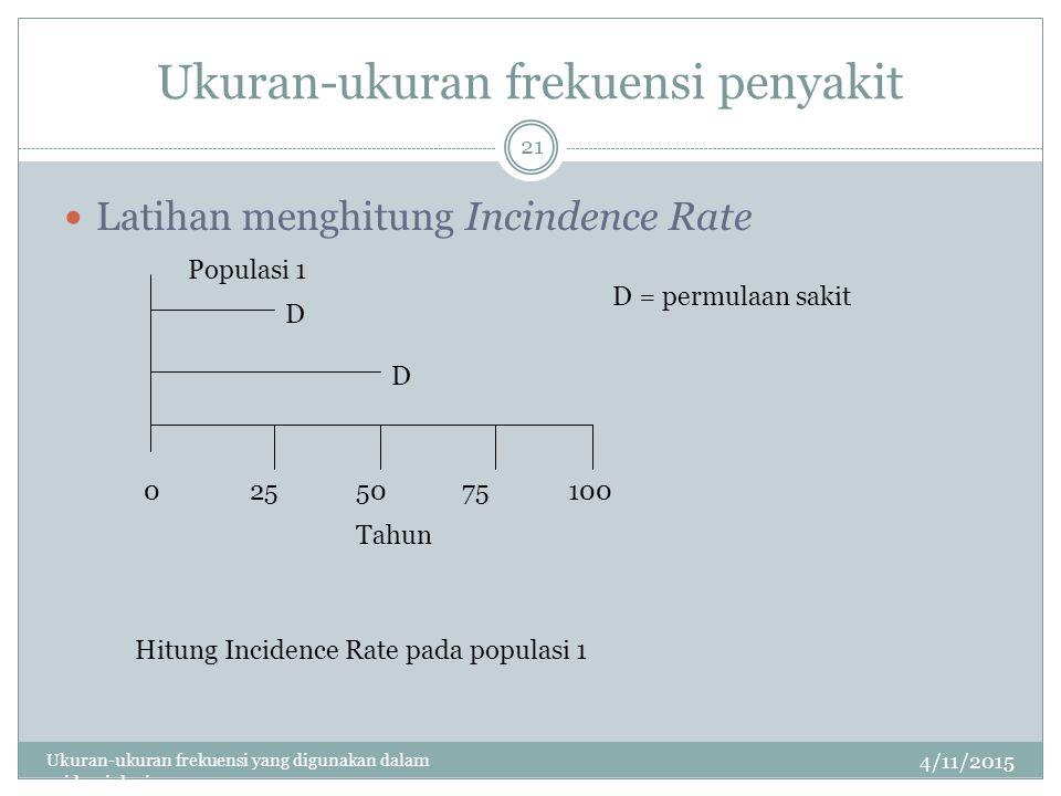 Ukuran-ukuran frekuensi penyakit 4/11/2015 Ukuran-ukuran frekuensi yang digunakan dalam epidemiologi 21 Latihan menghitung Incindence Rate 0255075100 Tahun D D D = permulaan sakit Populasi 1 Hitung Incidence Rate pada populasi 1