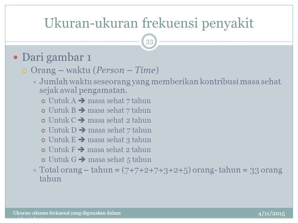 Ukuran-ukuran frekuensi penyakit 4/11/2015 Ukuran-ukuran frekuensi yang digunakan dalam epidemiologi 33 Dari gambar 1  Orang – waktu (Person – Time)  Jumlah waktu seseorang yang memberikan kontribusi masa sehat sejak awal pengamatan.