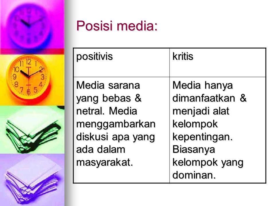 Posisi media: positiviskritis Media sarana yang bebas & netral.