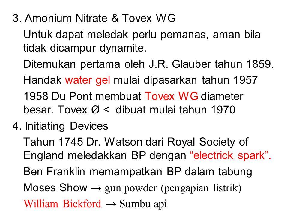 3. Amonium Nitrate & Tovex WG Untuk dapat meledak perlu pemanas, aman bila tidak dicampur dynamite. Ditemukan pertama oleh J.R. Glauber tahun 1859. Ha