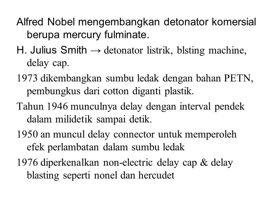 Alfred Nobel mengembangkan detonator komersial berupa mercury fulminate. H. Julius Smith → detonator listrik, blsting machine, delay cap. 1973 dikemba