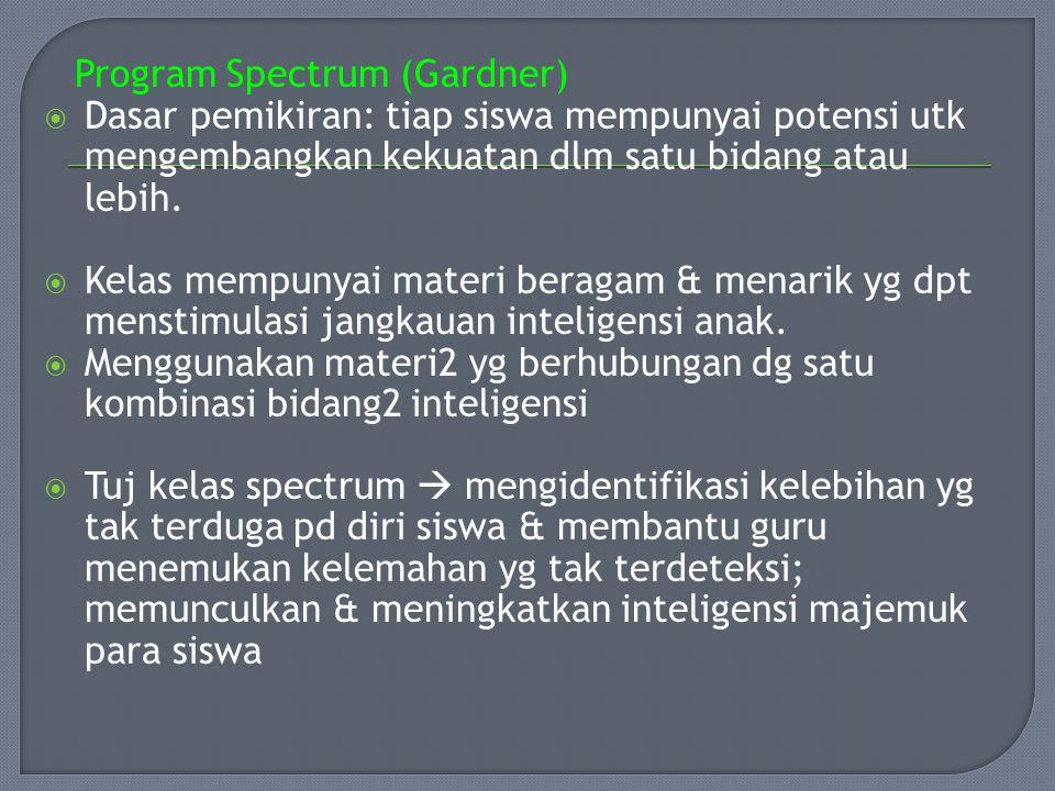 Program Spectrum (Gardner)  Dasar pemikiran: tiap siswa mempunyai potensi utk mengembangkan kekuatan dlm satu bidang atau lebih.