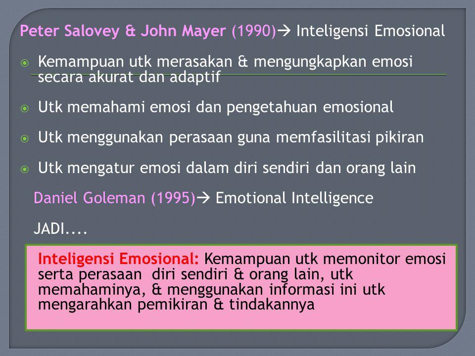 Peter Salovey & John Mayer (1990)  Inteligensi Emosional  Kemampuan utk merasakan & mengungkapkan emosi secara akurat dan adaptif  Utk memahami emosi dan pengetahuan emosional  Utk menggunakan perasaan guna memfasilitasi pikiran  Utk mengatur emosi dalam diri sendiri dan orang lain Daniel Goleman (1995)  Emotional Intelligence JADI....