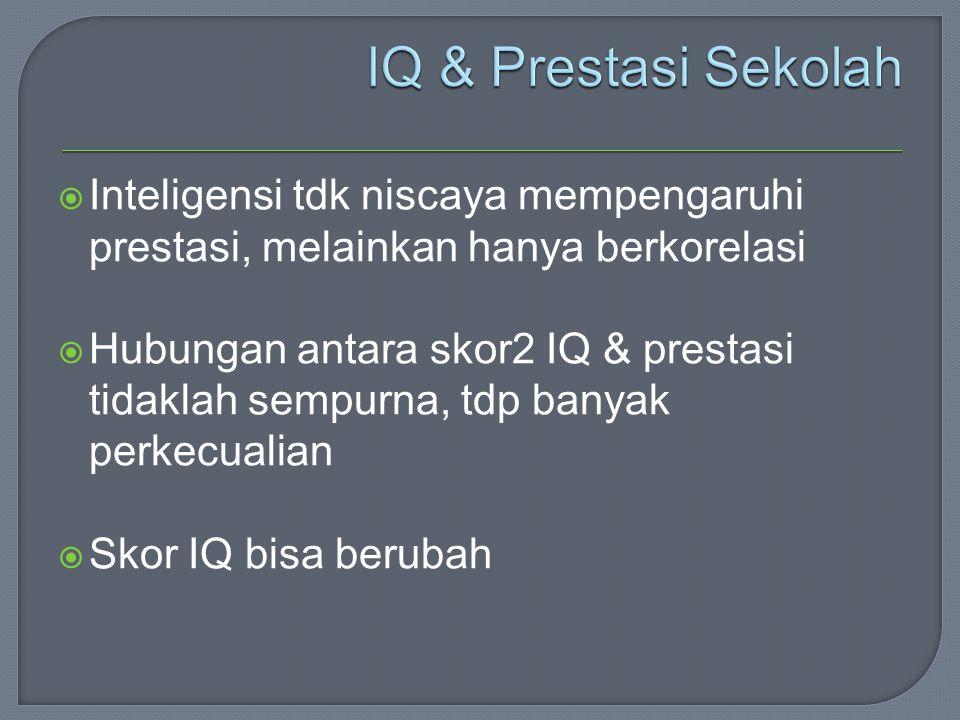  Inteligensi tdk niscaya mempengaruhi prestasi, melainkan hanya berkorelasi  Hubungan antara skor2 IQ & prestasi tidaklah sempurna, tdp banyak perkecualian  Skor IQ bisa berubah