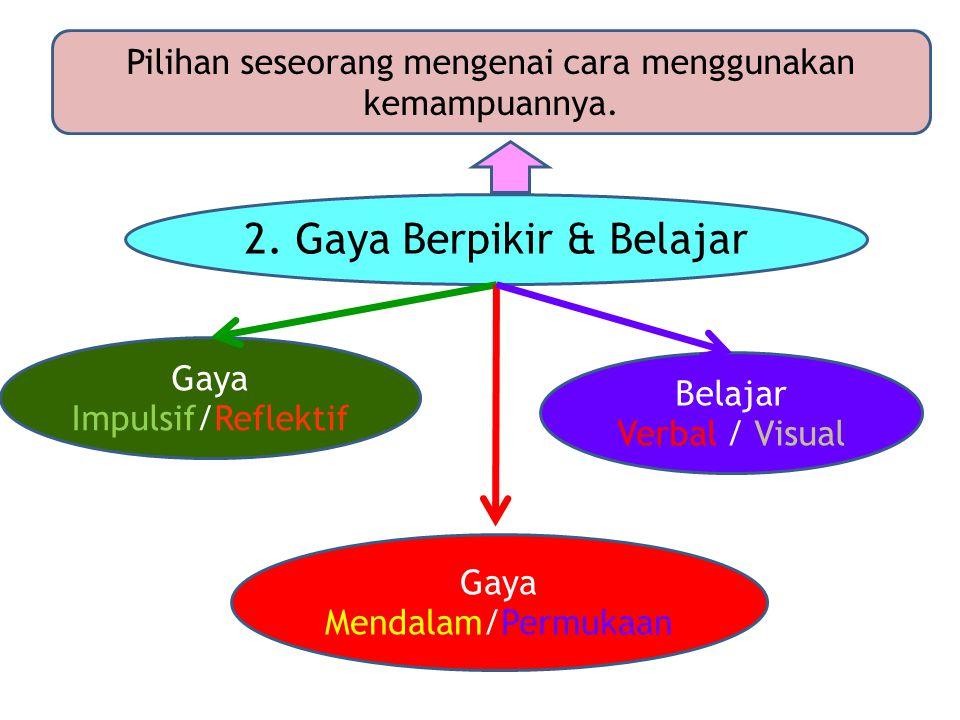 2.Gaya Berpikir & Belajar Pilihan seseorang mengenai cara menggunakan kemampuannya.