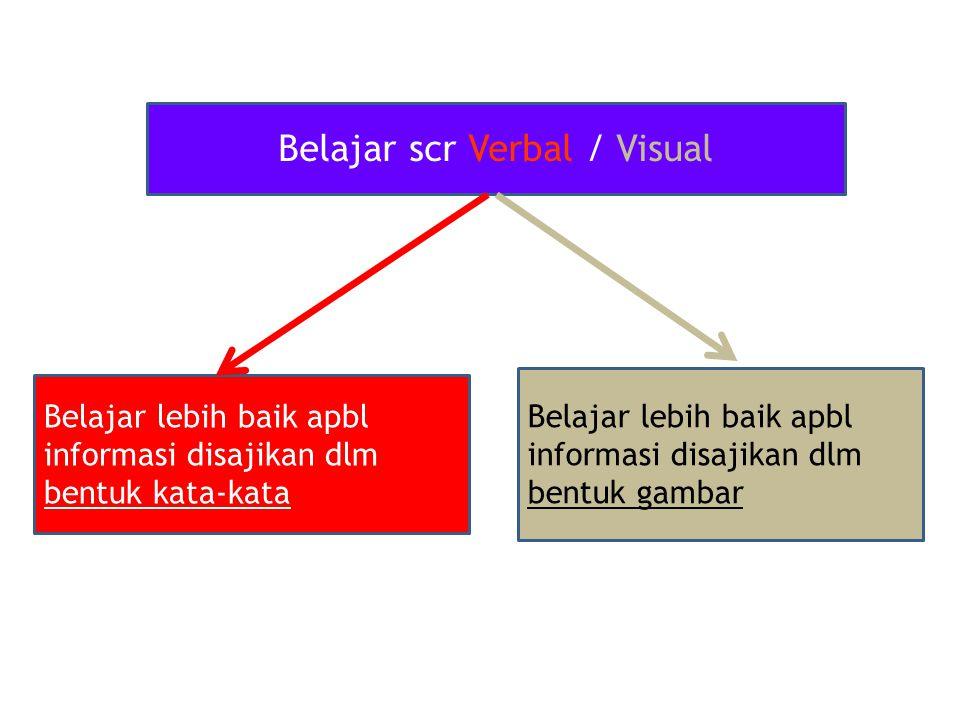 Belajar scr Verbal / Visual Belajar lebih baik apbl informasi disajikan dlm bentuk kata-kata Belajar lebih baik apbl informasi disajikan dlm bentuk gambar