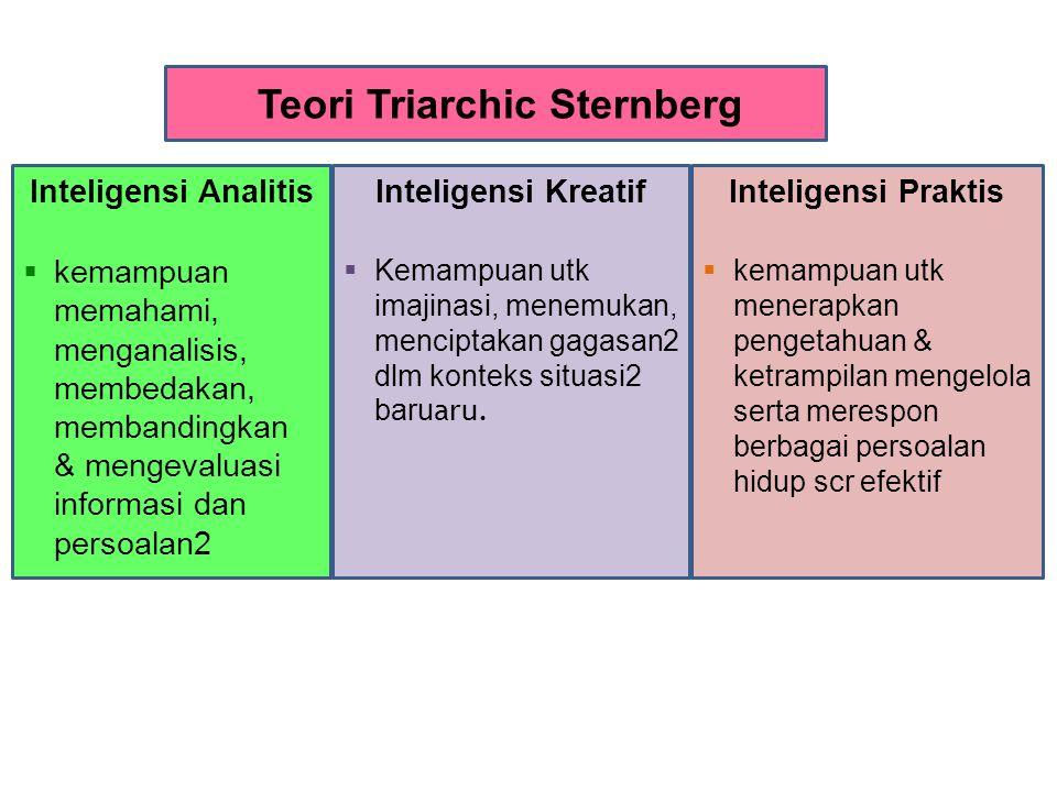 Inteligensi Analitis  kemampuan memahami, menganalisis, membedakan, membandingkan & mengevaluasi informasi dan persoalan2 Teori Triarchic Sternberg Inteligensi Kreatif  Kemampuan utk imajinasi, menemukan, menciptakan gagasan2 dlm konteks situasi2 baru aru.