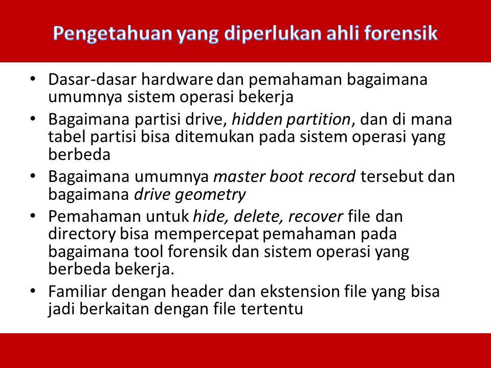 Dasar-dasar hardware dan pemahaman bagaimana umumnya sistem operasi bekerja Bagaimana partisi drive, hidden partition, dan di mana tabel partisi bisa