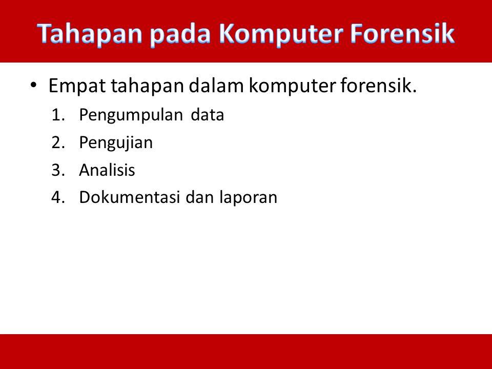 Empat tahapan dalam komputer forensik. 1.Pengumpulan data 2.Pengujian 3.Analisis 4.Dokumentasi dan laporan