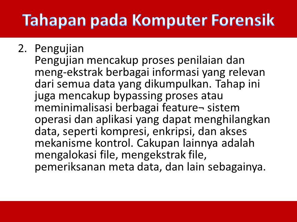 2.Pengujian Pengujian mencakup proses penilaian dan meng-ekstrak berbagai informasi yang relevan dari semua data yang dikumpulkan. Tahap ini juga menc