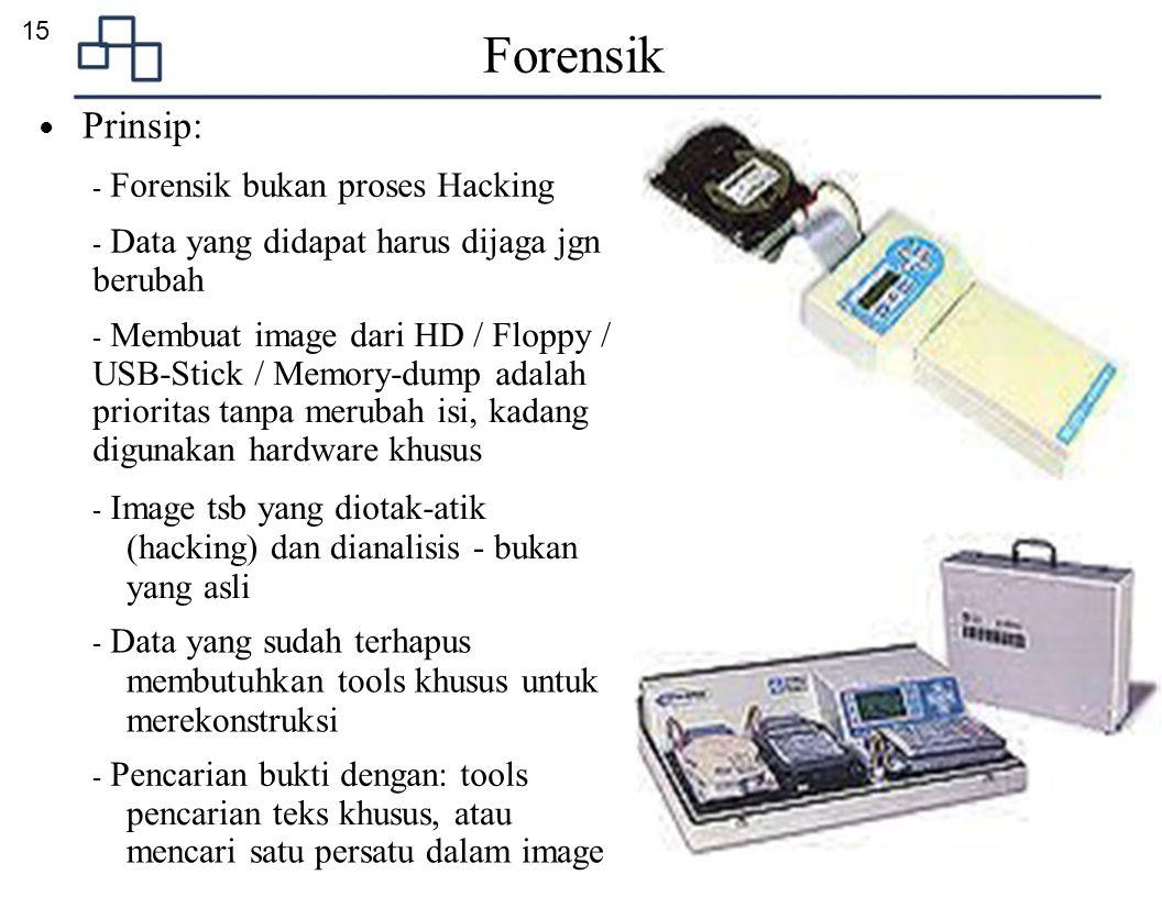 15 ● Prinsip: Forensik - Forensik bukan proses Hacking - Data yang didapat harus dijaga jgn berubah - Membuat image dari HD / Floppy / USB-Stick / Mem