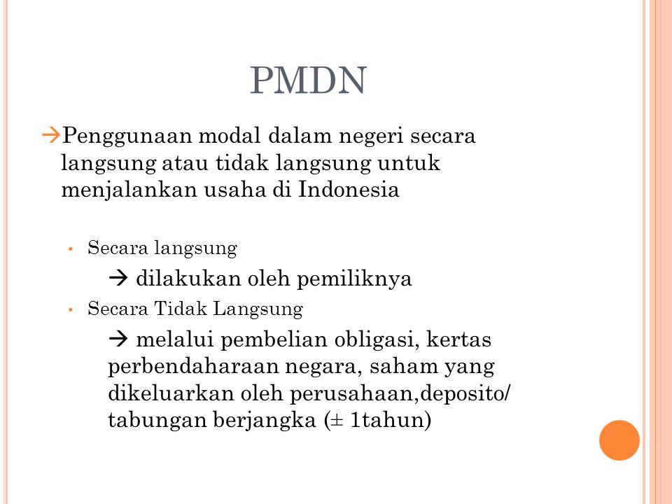 PMDN  Penggunaan modal dalam negeri secara langsung atau tidak langsung untuk menjalankan usaha di Indonesia Secara langsung  dilakukan oleh pemilik