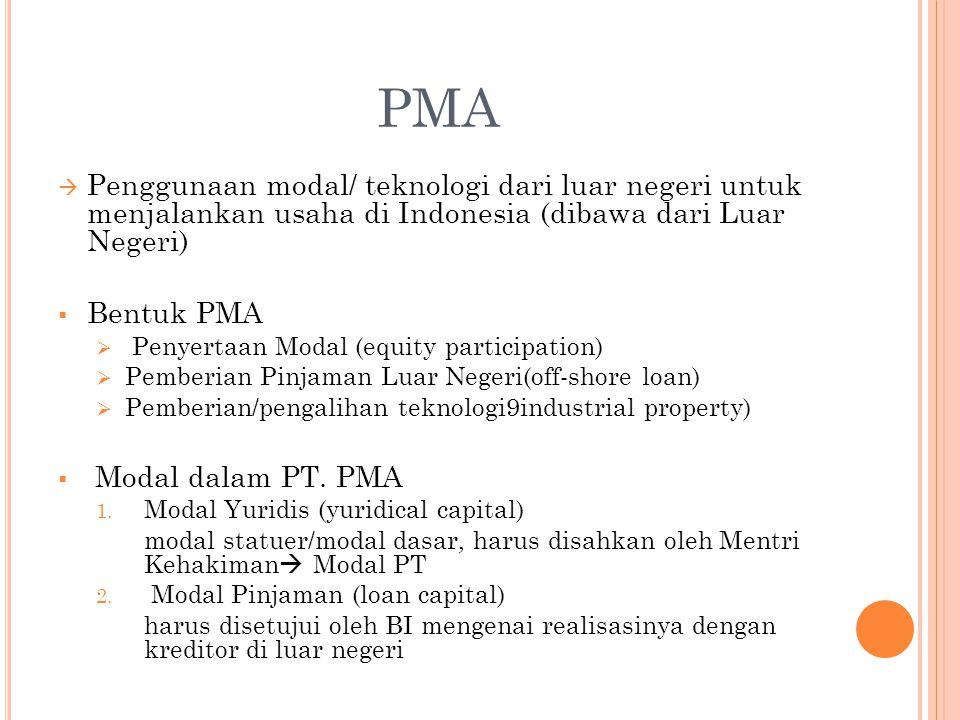 PMA  Penggunaan modal/ teknologi dari luar negeri untuk menjalankan usaha di Indonesia (dibawa dari Luar Negeri)  Bentuk PMA  Penyertaan Modal (equ