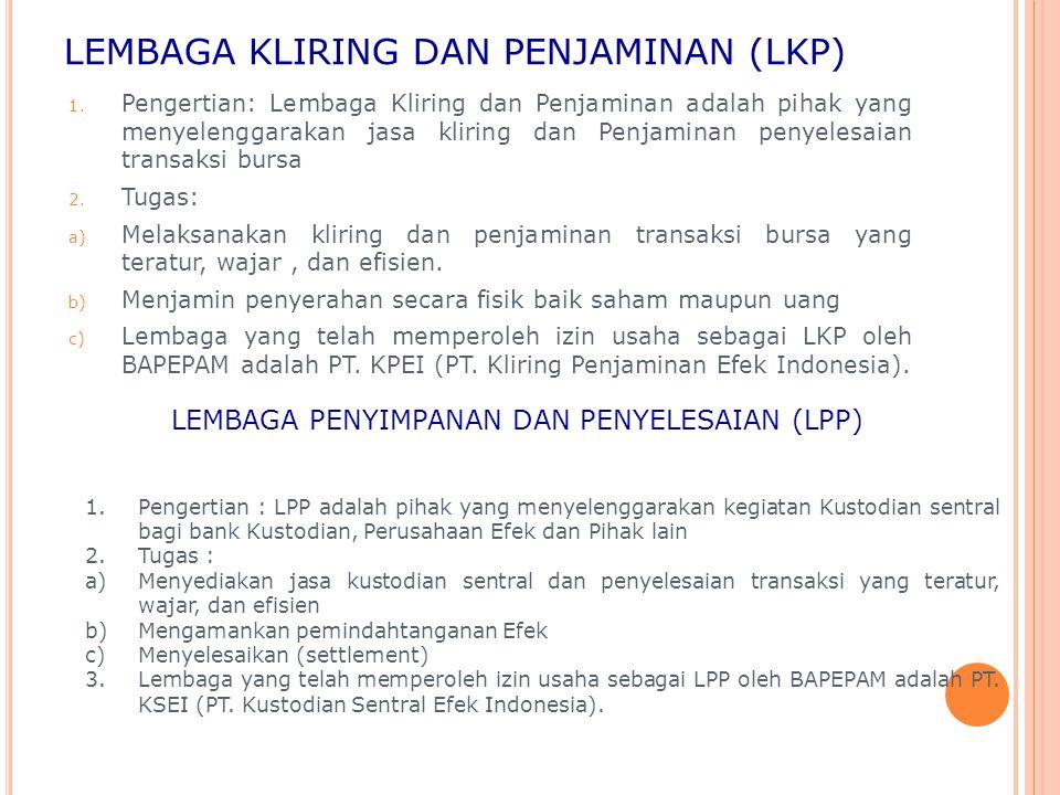 LEMBAGA KLIRING DAN PENJAMINAN (LKP) 1. Pengertian: Lembaga Kliring dan Penjaminan adalah pihak yang menyelenggarakan jasa kliring dan Penjaminan peny