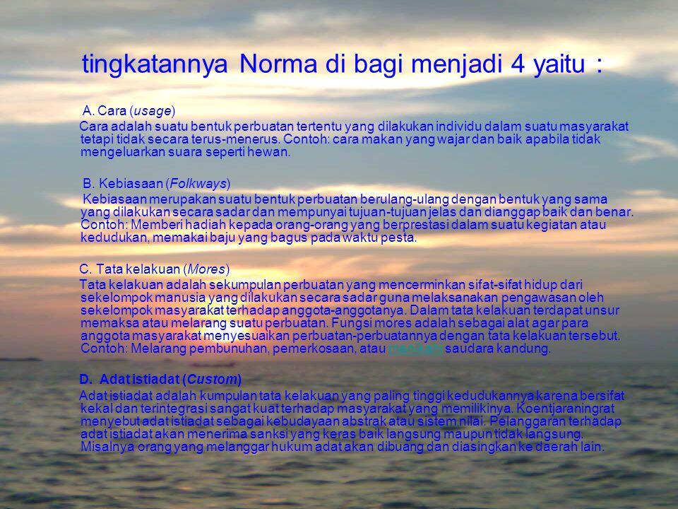 Pengertian Norma Norma adalah kebiasaan umum yang menjadi patokan perilaku dalam suatu kelompok masyarakat dan batasan wilayah tertentu.