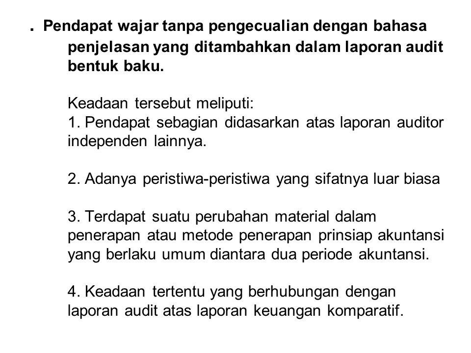 . Pendapat wajar tanpa pengecualian dengan bahasa penjelasan yang ditambahkan dalam laporan audit bentuk baku. Keadaan tersebut meliputi: 1. Pendapat