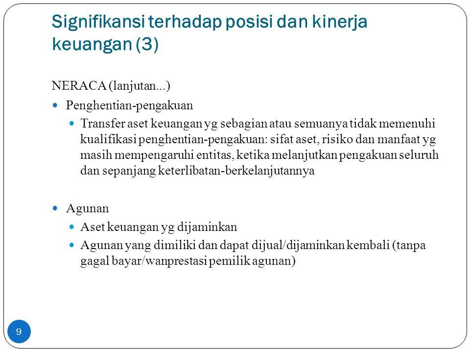 Signifikansi terhadap posisi dan kinerja keuangan (4) NERACA (lanjutan...) Penyisihan kerugian kredit Rekonsiliasi perubahan akun p enyisihan (jika penyisihan dicatat di akun terpisah) Instrumen keuangan majemuk dengan beberapa derivatif melekat Keberadaan fitur derivatif melekat tsb Gagal bayar dan pelanggaran 10