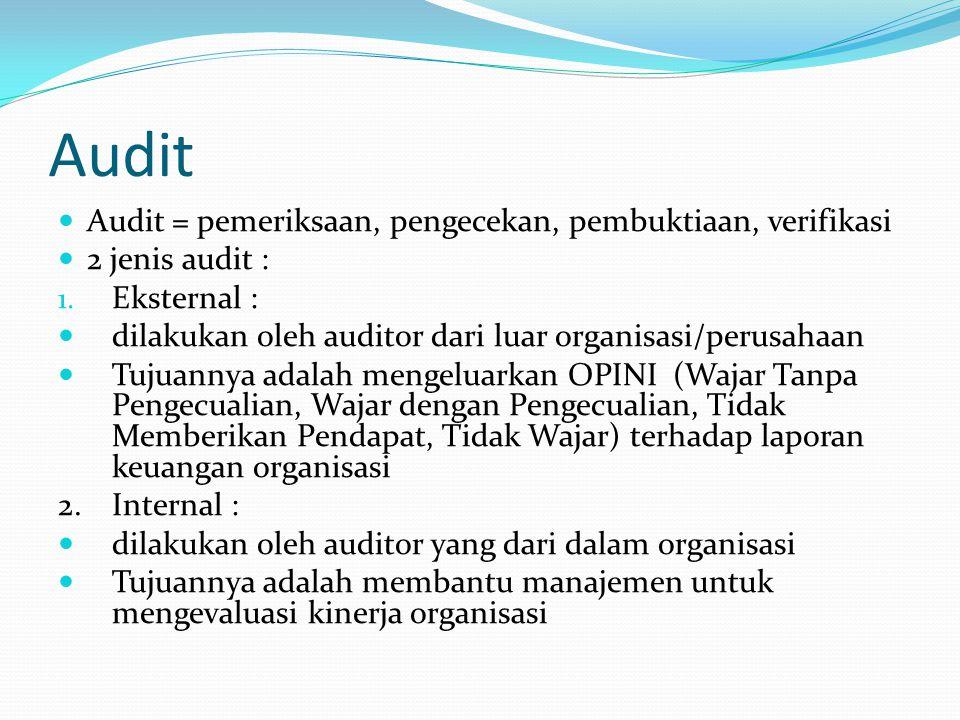 Audit Audit = pemeriksaan, pengecekan, pembuktiaan, verifikasi 2 jenis audit : 1. Eksternal : dilakukan oleh auditor dari luar organisasi/perusahaan T