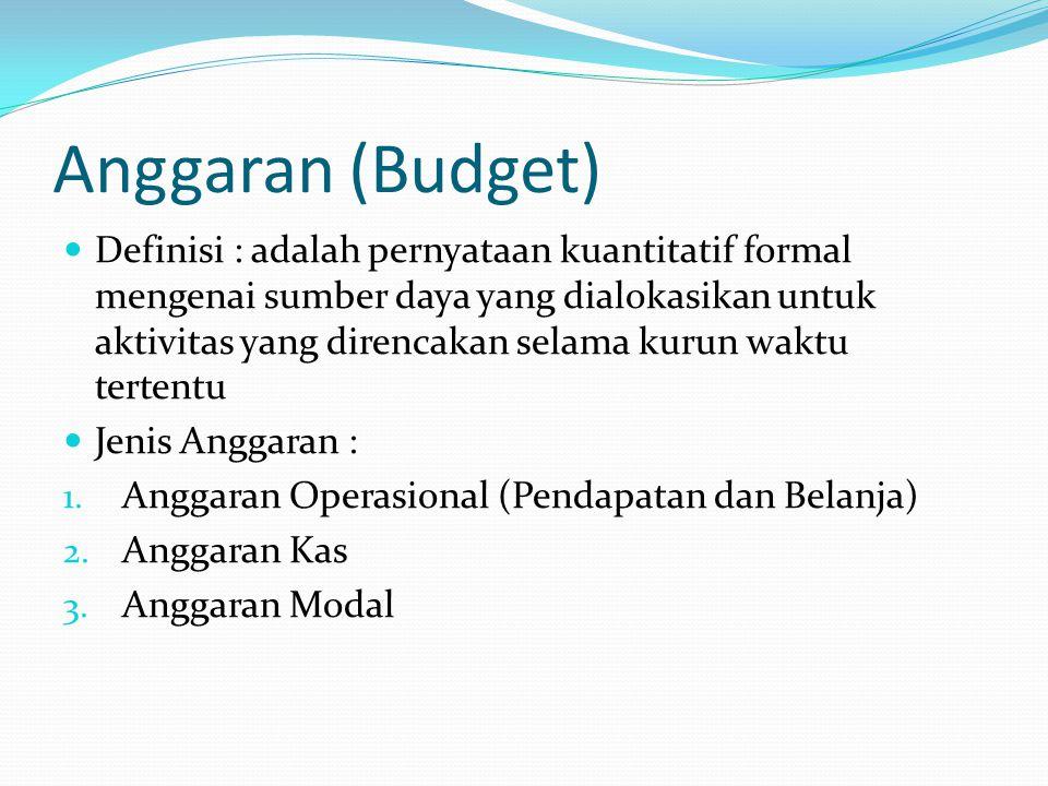 Anggaran (Budget) Definisi : adalah pernyataan kuantitatif formal mengenai sumber daya yang dialokasikan untuk aktivitas yang direncakan selama kurun