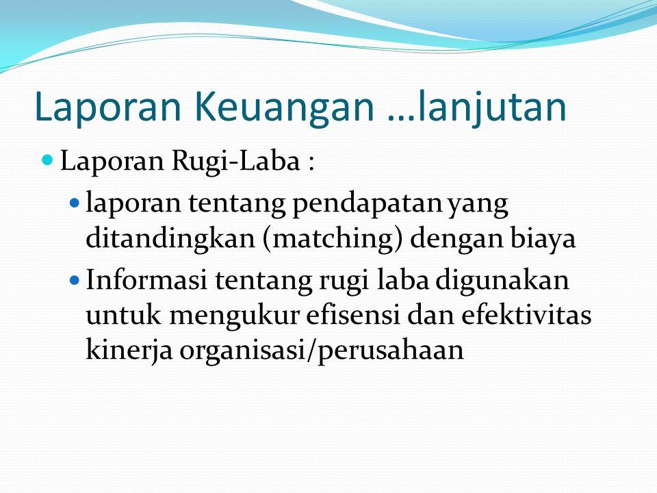 Laporan Keuangan …lanjutan Laporan Rugi-Laba : laporan tentang pendapatan yang ditandingkan (matching) dengan biaya Informasi tentang rugi laba diguna