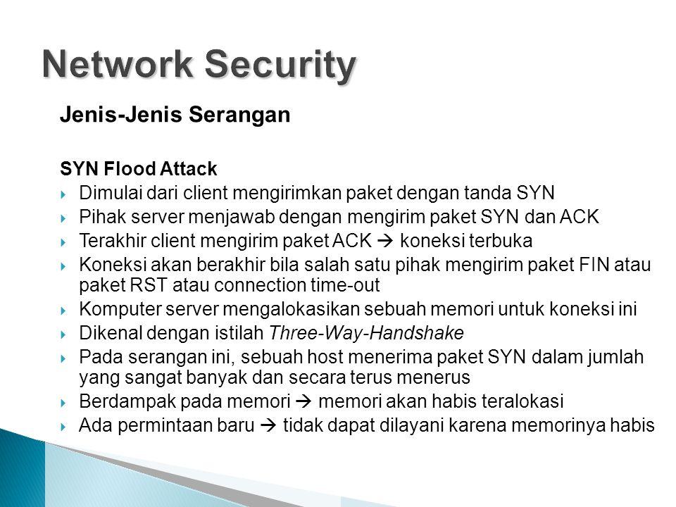 Jenis-Jenis Serangan SYN Flood Attack  Dimulai dari client mengirimkan paket dengan tanda SYN  Pihak server menjawab dengan mengirim paket SYN dan A