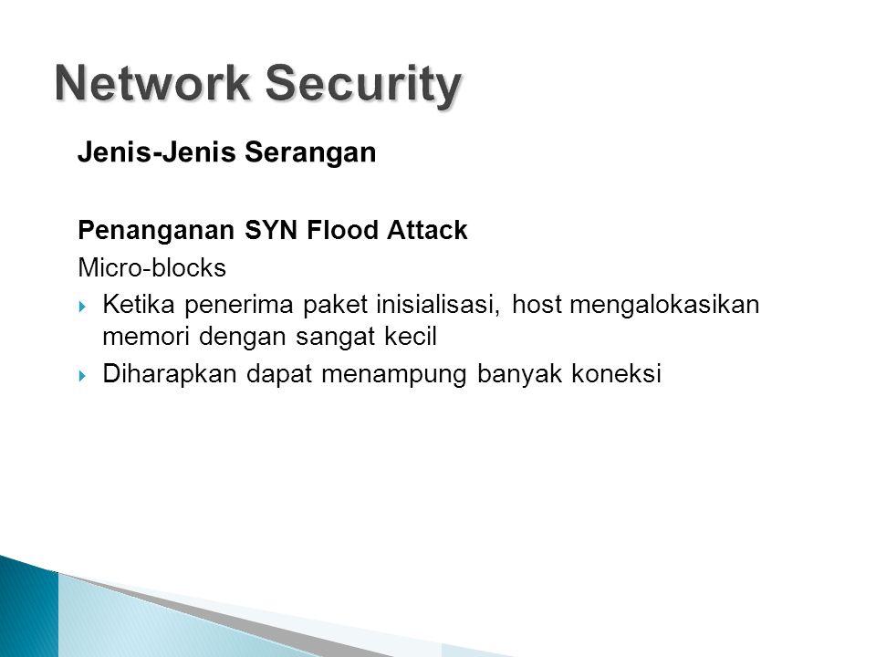 Jenis-Jenis Serangan Penanganan SYN Flood Attack Micro-blocks  Ketika penerima paket inisialisasi, host mengalokasikan memori dengan sangat kecil  Diharapkan dapat menampung banyak koneksi