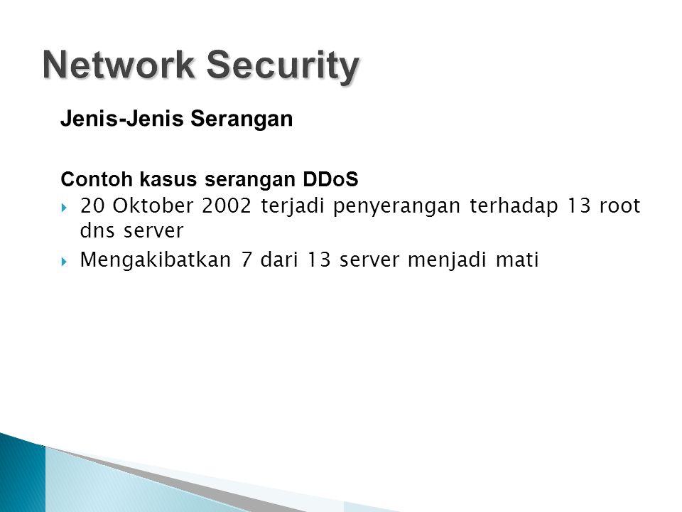 Jenis-Jenis Serangan Contoh kasus serangan DDoS  20 Oktober 2002 terjadi penyerangan terhadap 13 root dns server  Mengakibatkan 7 dari 13 server menjadi mati