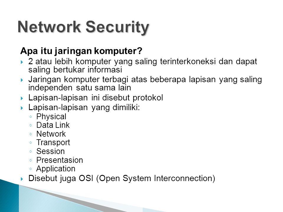 Apa itu jaringan komputer?  2 atau lebih komputer yang saling terinterkoneksi dan dapat saling bertukar informasi  Jaringan komputer terbagi atas be