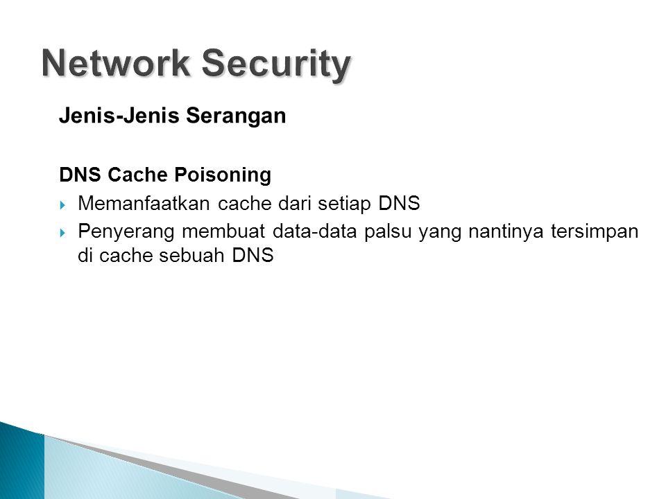 Jenis-Jenis Serangan DNS Cache Poisoning  Memanfaatkan cache dari setiap DNS  Penyerang membuat data-data palsu yang nantinya tersimpan di cache seb