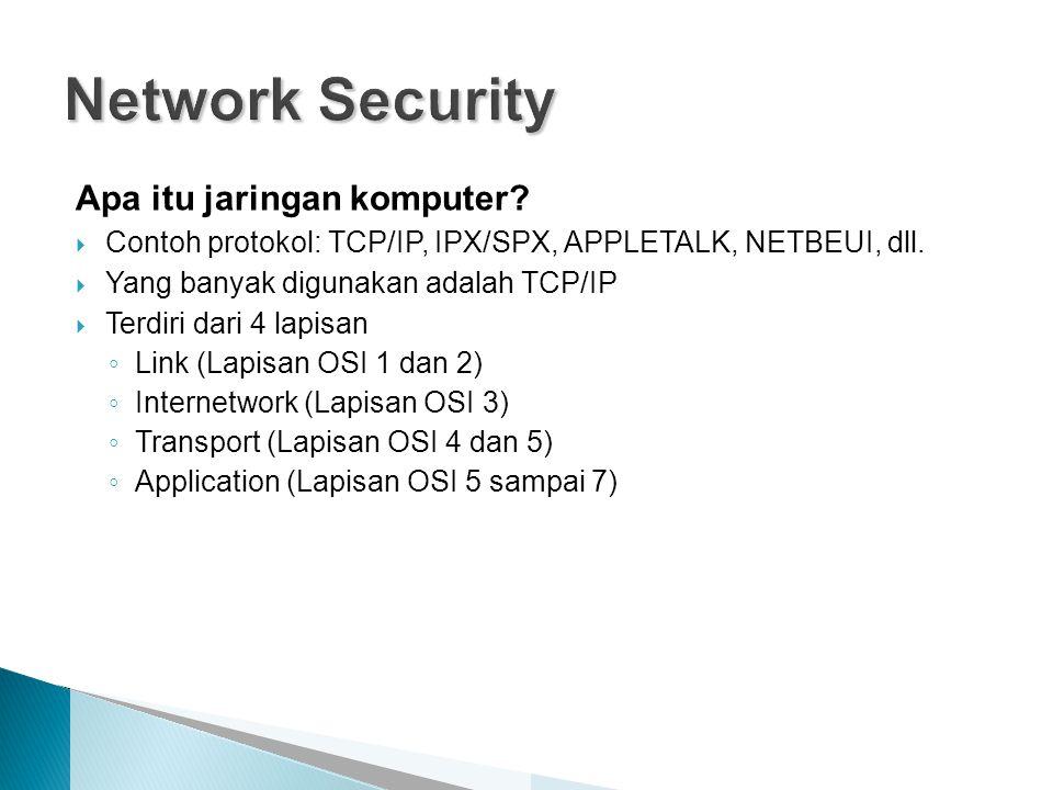 Apa itu jaringan komputer?  Contoh protokol: TCP/IP, IPX/SPX, APPLETALK, NETBEUI, dll.  Yang banyak digunakan adalah TCP/IP  Terdiri dari 4 lapisan