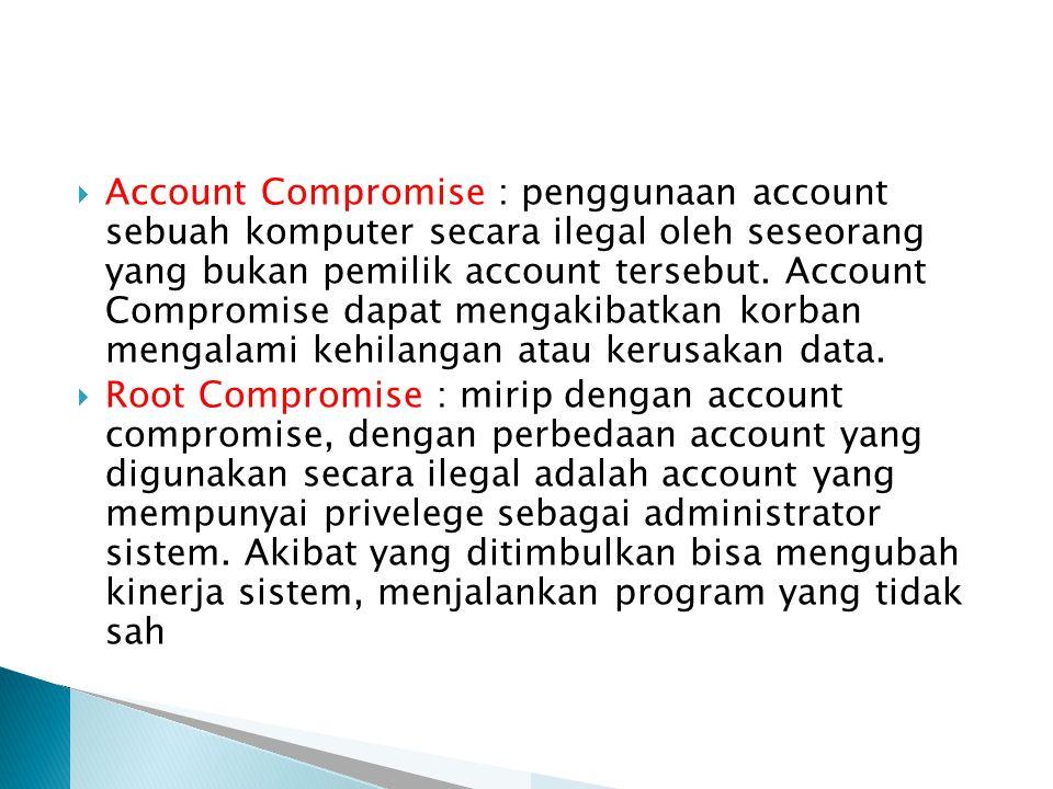  Account Compromise : penggunaan account sebuah komputer secara ilegal oleh seseorang yang bukan pemilik account tersebut.